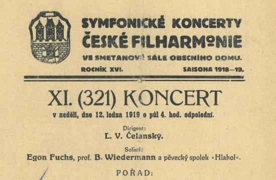 Program koncertu – Česká rhapsodie, premiéra 12.ledna 1919