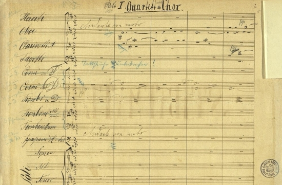 První notová strana autografní partitury Stabat Mater