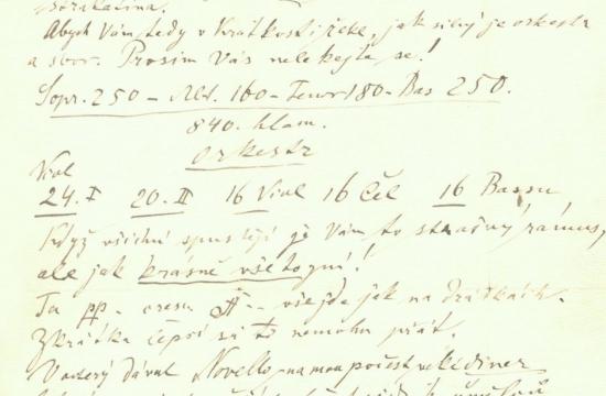 Část dopisu Antonína Dvořáka Aloisi Göblovi zroku 1884. Originál celého dopisu je dochován vesbírkách Národního muzea – Českého muzea hudby